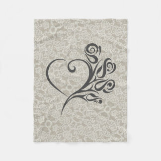 Cobertor De Velo Acentos do laço com coração e flores