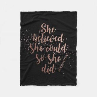 """Cobertor De Velo """"Acreditou que poderia assim que fez"""" ouro"""