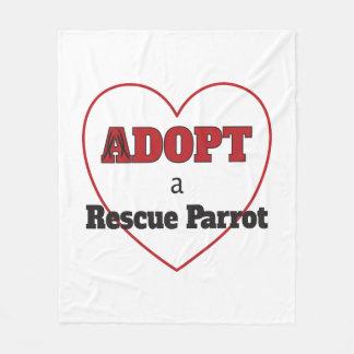 Cobertor De Velo Adote um papagaio do salvamento - coração