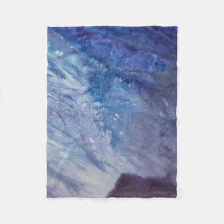 Cobertor De Velo Água branca azul triste da onda da pintura do
