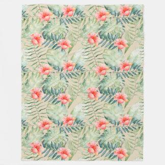 Cobertor De Velo Aguarela floral do hibiscus tropical das folhas