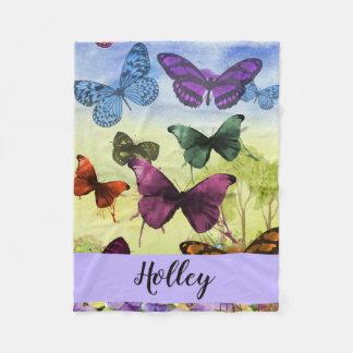 Cobertor De Velo Aguarela multicolorido personalizada da borboleta