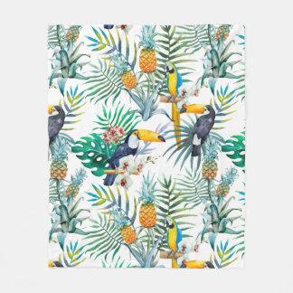 Cobertor De Velo Aguarela tropical do pássaro do papagaio do