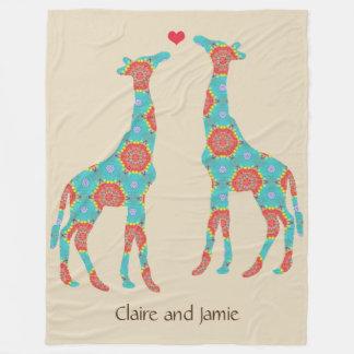 Cobertor De Velo Amantes boémios personalizados do girafa