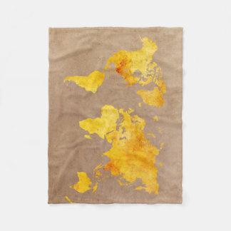 Cobertor De Velo amarelo do mapa do mundo