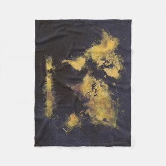 Cobertor De Velo amarelo preto do mapa do mundo