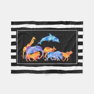 Cobertor De Velo Animais selvagens que funcionam junto a aguarela