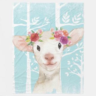 Cobertor De Velo Animal feliz com as flores no Floresta-Carneiro