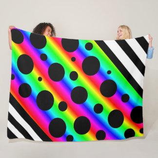 Cobertor De Velo Arco-íris e bolinhas e cobertura pretas das