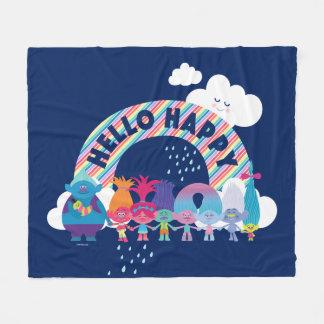 Cobertor De Velo Arco-íris feliz dos troll  