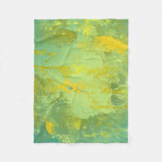 Cobertor De Velo Arte abstracta verde e amarela