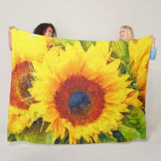 Cobertor De Velo Arte brilhante do girassol