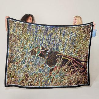 Cobertor De Velo Arte do cão de caça do laboratório do chocolate
