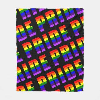 Cobertor De Velo Arte do texto do orgulho do arco-íris na cor preta