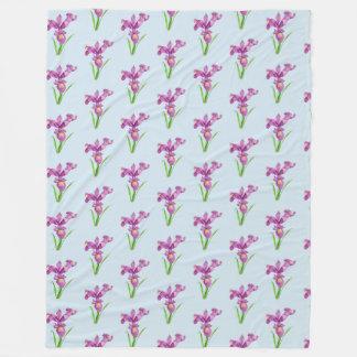 Cobertor De Velo Arte floral da íris roxa da aguarela