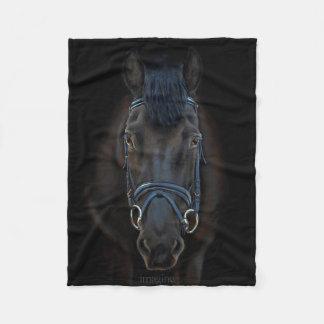 Cobertor De Velo Arte preta do Equestrian do cavalo de Fresian