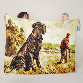 Cobertor De Velo Arte preta do treinamento do pato do cão do
