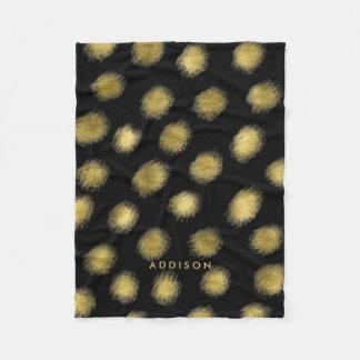 Cobertor De Velo As coberturas pretas do velo com pontos do ouro