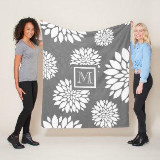 Cobertor De Velo As flores contemporâneas brancas personalizam-no