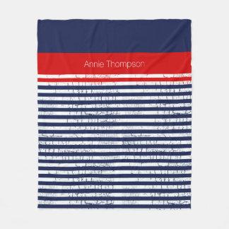 Cobertor De Velo azuis marinhos, listras vermelhas brancas com nome
