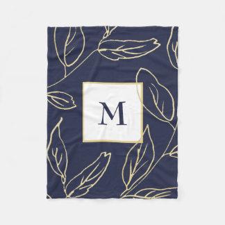 Cobertor De Velo Azul chique com a cor do ouro botânica e o