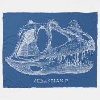 Cobertor De Velo Azul da paleontologia do crânio do dinossauro do