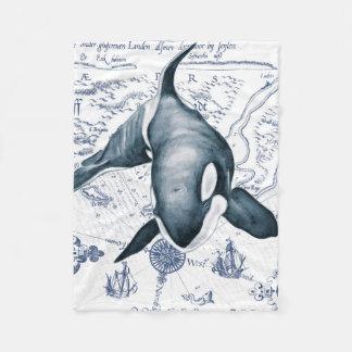 Cobertor De Velo Azul do mapa da orca