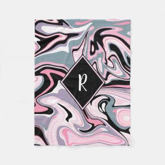Cobertor De Velo Azul preto roxo cor-de-rosa de mármore colorido
