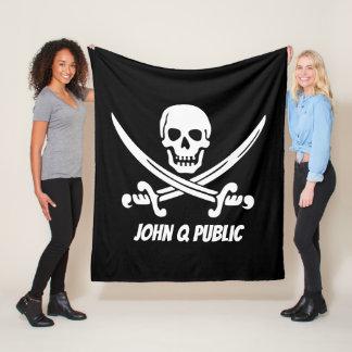 Cobertor De Velo Bandeira de pirata alegre de Roger com nome