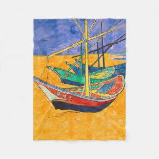 Cobertor De Velo Barcos de Van Gogh coloridos