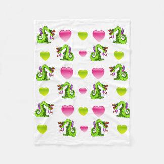 Cobertor De Velo Beijando dragões e corações cor-de-rosa e verdes
