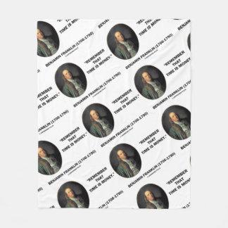 Cobertor De Velo Benjamin Franklin recorda Tempo é dinheiro