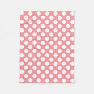 Cobertor De Velo Bolinhas brancas no fundo cor-de-rosa