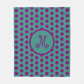 Cobertor De Velo Bolinhas roxas aciganadas no monograma da cerceta