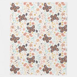 Cobertor De Velo Borboletas e abelhas das flores