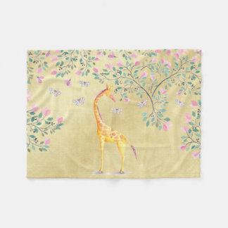 Cobertor De Velo Borboletas e flor do girafa da aguarela