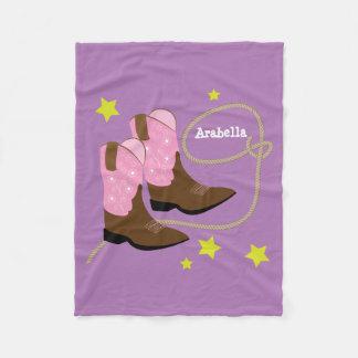 Cobertor De Velo Botas & corda cor-de-rosa da vaqueira,