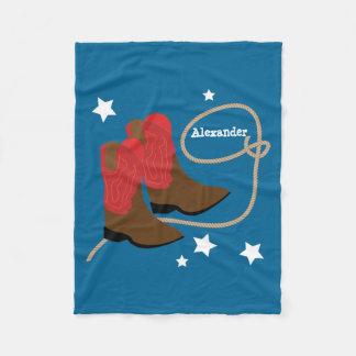 Cobertor De Velo Botas & corda vermelhas de vaqueiro,