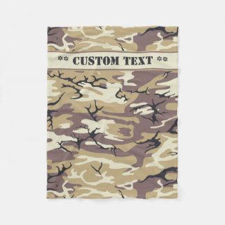 Cobertor De Velo Brown árido Camo com texto feito sob encomenda