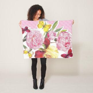 Cobertor De Velo Buquê cor-de-rosa e amarelo floral da íris da