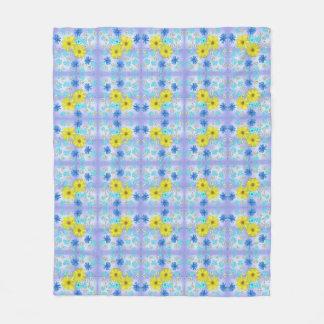 Cobertor De Velo Buquê da flor do país no azul e no amarelo