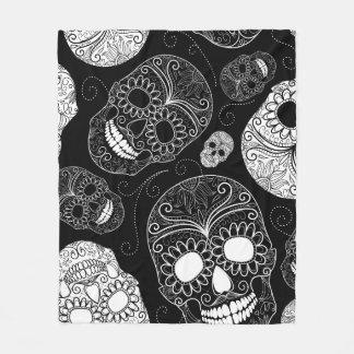 Cobertor De Velo Cabeças do crânio do açúcar preto & branco