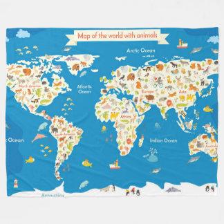 Cobertor De Velo Caçoa o mapa do mundo com animais