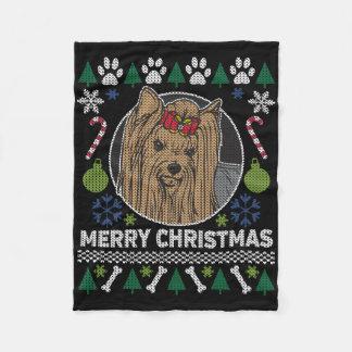 Cobertor De Velo Camisola feia do Feliz Natal do yorkshire terrier