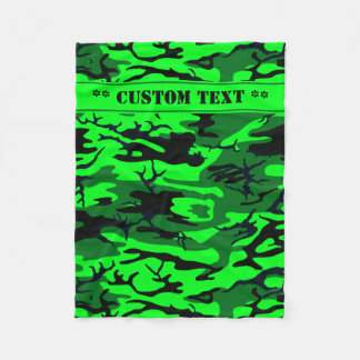 Cobertor De Velo Camo verde estrangeiro com texto feito sob