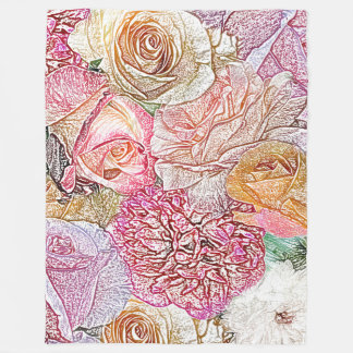 Cobertor De Velo Campo dos rosas no lápis da cor