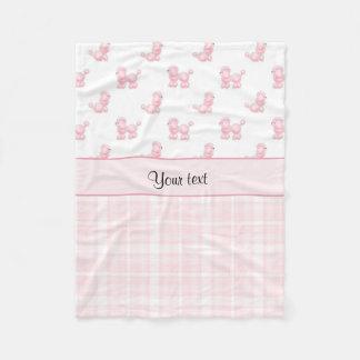 Cobertor De Velo Caniches & verificações cor-de-rosa do rosa