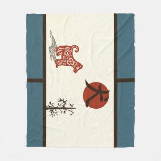 Cobertor De Velo Cão do Kanji no azul barrado