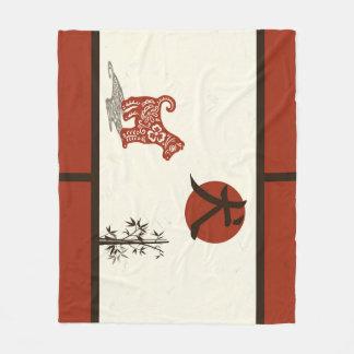 Cobertor De Velo Cão do Kanji no vermelho barrado