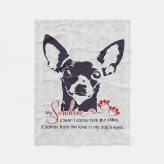 Cobertor De Velo Cão preto da chihuahua minha luz do sol